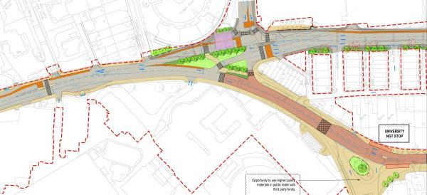 NGT plans for junction Blenheim Walk and Woodhouse Lane