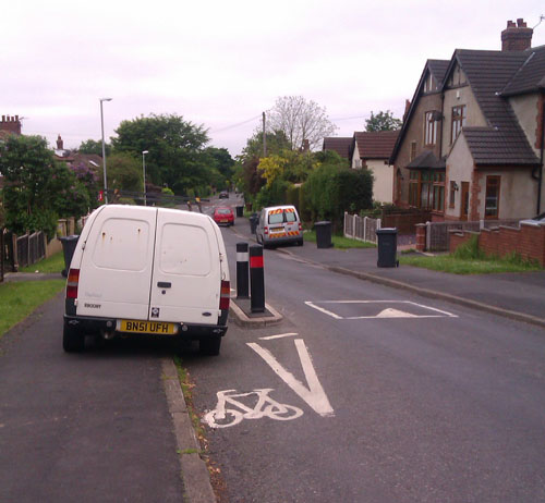 Photo of a van parked in a cycle bypass lane